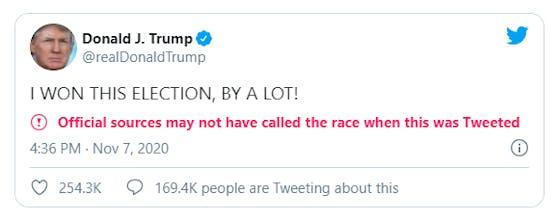 Trumps letzter Tweet bevor Biden von den US-Medien zum Wahlsieger erklärt wurde