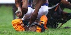 Unglaubliche Szene! Pferd tritt Jockey ins Gesicht