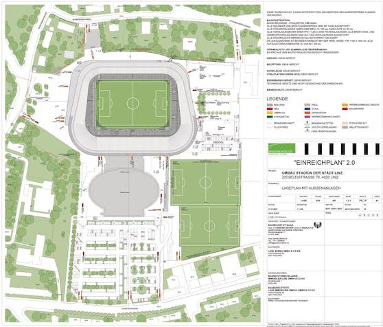 So sieht er aus, der Einreichplan zur LASK-Arena.
