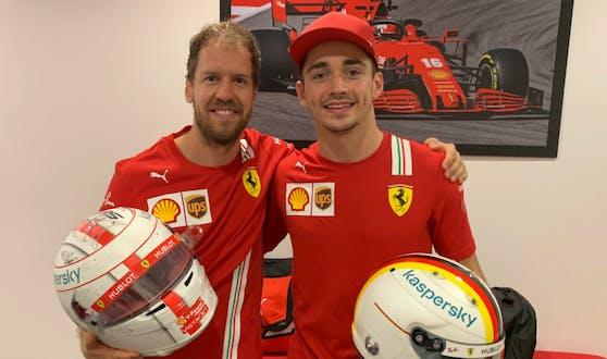 Sebastian Vettel und Charles Leclerc beim Ferrari-Abschied des Deutschen.