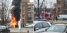 Feuer in Wien, schwarze Rauchsäule über Floridsdorf