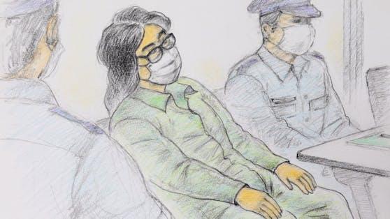 Zeichnung von Takahiro Shiraishi vor Gericht.