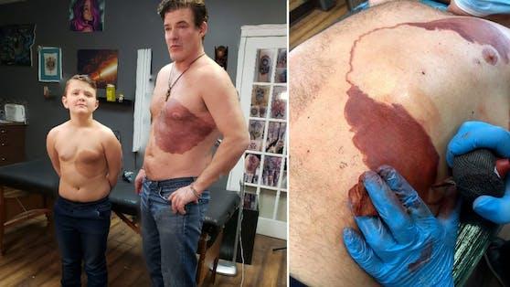 Dank Tattoo nun im Partnerlook: Derek und sein Papa