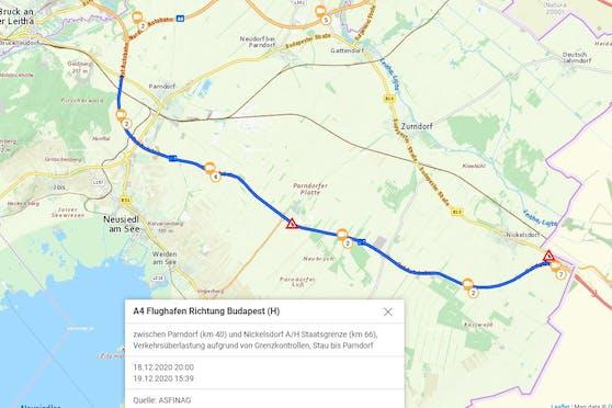 A4: Am Samstagnachmittag staute es von der Grenze bis nach Parndorf zurück