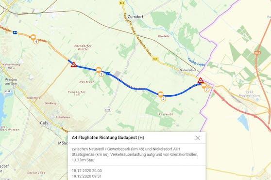 Riesiger Stau auf der A4 am Samstagvormittag (19. Dezember 2020)