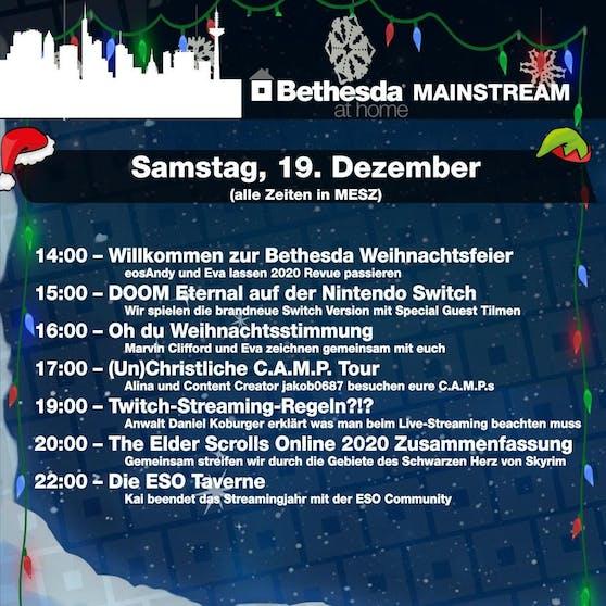 Der Zeitplan zum Bethesda-Weihnachts-Stream.