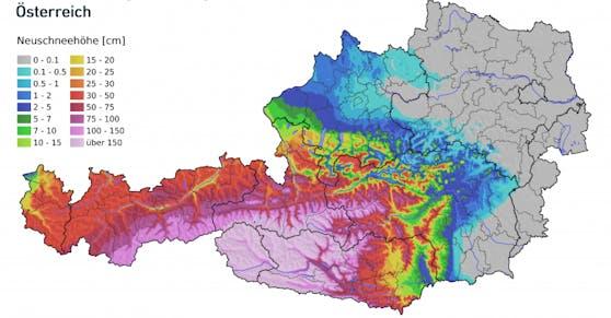 Neuschneemengen von Freitag bis Sonntag (4.-6.12.2020) in Österreich