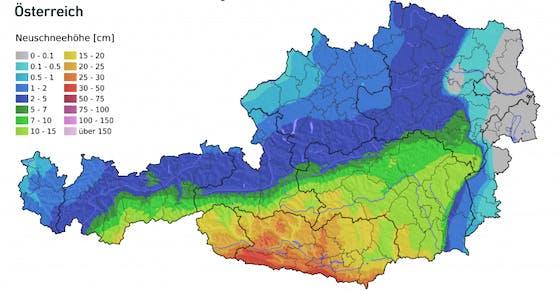 Neuschneemengen am Mittwoch und Donnerstag (2.-3.12.2020) in Österreich