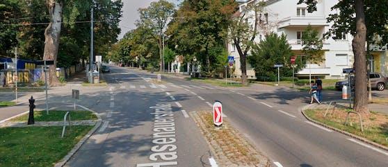 Der Unfallort: die Kreuzung Hasenauerstraße / Cottagegasse in Wien-Döbling