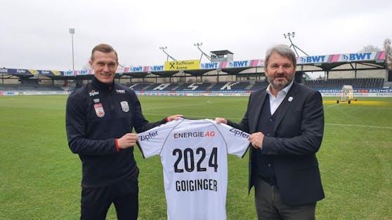 Thomas Goiginger verlängerte seinen Vertrag bis 2024. Auch  Vizepräsident Jürgen Werner (re.) freut es.