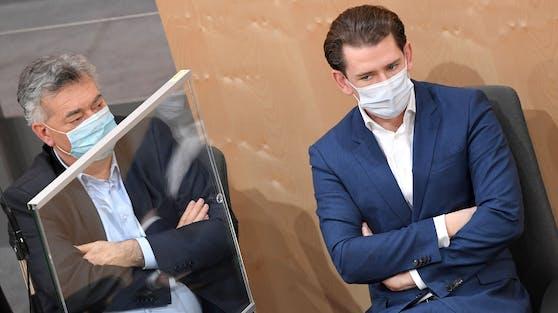 Sebastian Kurz (re,) und Werner Kogler