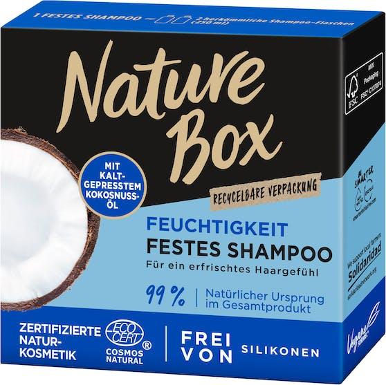 Gewinne jetzt ein Haarpflege-Set von Nature Box samt dem festen Shampoo mit kaltgepresstem Kokolnuss-Öl.
