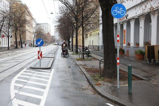 Am Tabor wurde Wiens erste Protected Bike Lane errichtet.