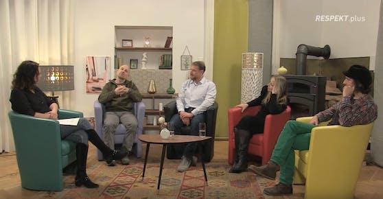 Im YouTube-Talk der Plattform RESPEKT diskutieren Künstler wie Roland Düringer (2.v.li.) und Nina Proll (2.v.re.) über die momentane Kultursituation.