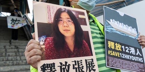 Aktivisten demonstrieren in Hong Kong für die Freilassung der Journalistin Zhang Zhan
