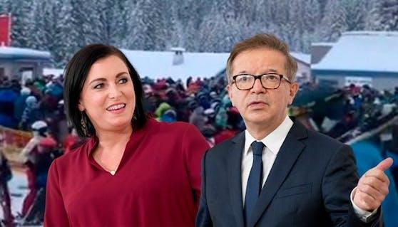 Elisabeth Köstinger und Rudolf Anschober reagieren erstmals auf den Ski-Andrang.