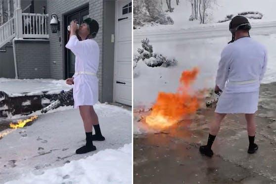 Timothy Browning hatte eine etwas andere Idee, um die Einfahrt von Schnee und Eis zu befreien.