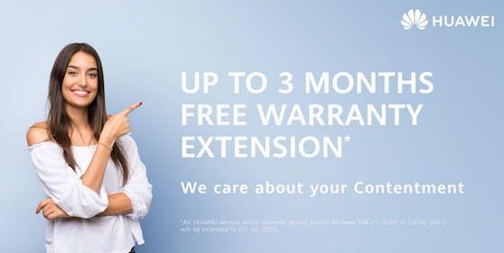 Serviceaktion bietet verlängerte Herstellergarantie und kostenlosen Huawei Door-to-Door Service.