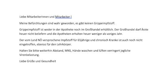 Schreiben der Ärztin aus dem Bezirk Krems