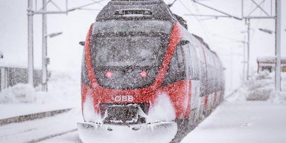 Ein Zug der ÖBB im starkem Schneefall, aufgenommen am 09. Jänner 2019 in Saalfelden.