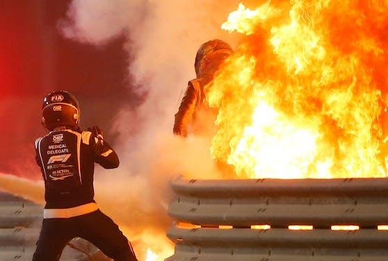 Der Feuer-Unfall von Romain Grosjean.