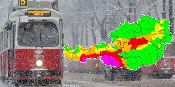 Höchste Schnee-Warnstufe in Österreich.