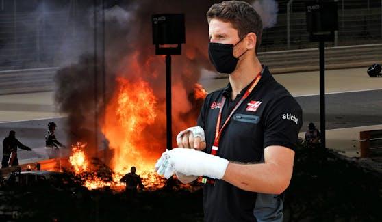 Romain Grosjean wurde wie durch ein Wunder nur leicht verletzt.