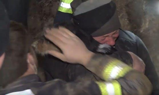 """Hund """"Diego"""" steckte tagelang in einem Dachsbau fest. Die Rettungsaktion war rührend."""