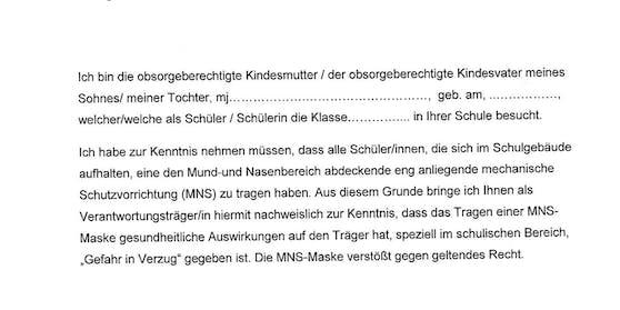 Dieser Brief samt Klagsdrohung kursiert in Schulen, Eltern sollen ihn unterschreiben