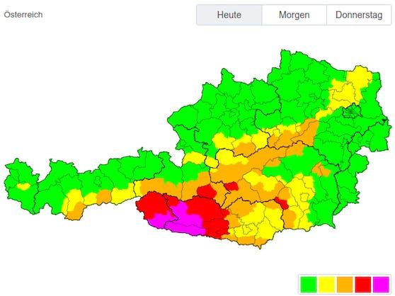 Die Schnee-Warnkarte für Österreich: Rote Warnstufe auch in einigen Bezirken Salzburgs und der Steiermark