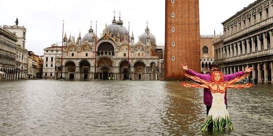 Venedig Hochwasser Markusplatz