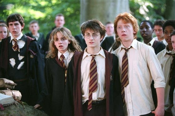 """Vorne, von links: Emma Watson, Daniel Radcliffe und Rupert Grint in """"Harry Potter und der Gefangene von Askaban""""."""