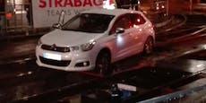 Acht Autos stürzten in Wien in Gleisbaustellen