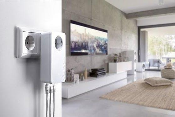 devolos dLAN 1200 triple+. Video- und Audiostreams werden mit bis zu 1,2 Gigabit pro Sekunde über die hausinterne Stromleitung übertragen.