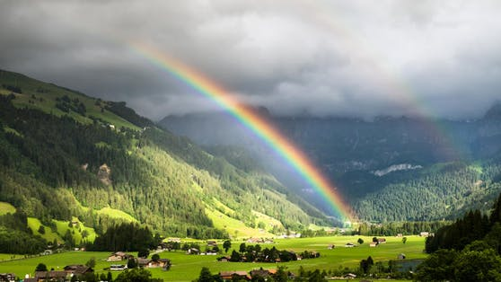 Licht muss in einem spezifischen Winkel zum Betrachter gebrochen werden, damit ein Regenbogen entstehen kann.
