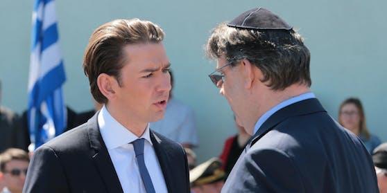 Bundeskanzler Sebastian Kurz im Gespräch mit IKG-Präsident Oskar Deutsch.