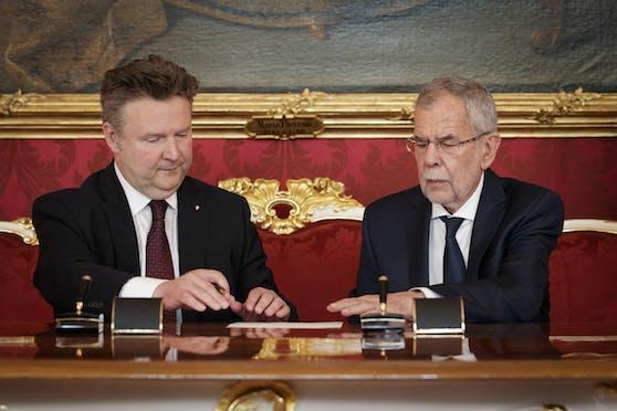 Bild von der Angelobung von Michael Ludwig zum Landeshauptmann von Wien durch Bundespräsident Alexander Van der Bellen.
