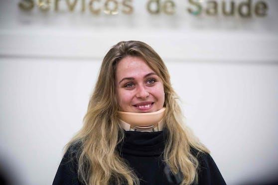 Sophia Flörsch nach ihrer Operation in Folge des Horror-Crashs in der Formel 3.