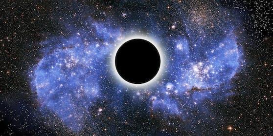 Ein Schwarzes Loch ist ein Objekt, dessen Masse auf ein extrem kleines Volumen, eine sogenannte Singularität, konzentriert ist. Sie erzeugt in ihrer unmittelbaren Umgebung eine so starke Gravitation, dass nicht einmal Licht von dort entkommen kann. Die äußere Grenze dieses Bereiches wird Ereignishorizont genannt. Innerhalb eines Ereignishorizonts kann sich nichts von der Singularität entfernen.