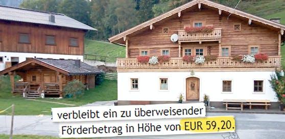 Ein Salzburger Gastwirt wurde mit einem Förderbetrag von 59,20 Euro abgespeist.