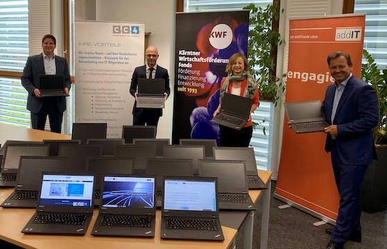 Marcus Trunkenpolz (CC4 Remarketing), Robert Klinglmair (Bildungsdirektor Kärnten), Petra Rodiga-Laßnig (Kärntner Wirtschaftsförderungs Fonds) und Dieter Jandl (Geschäftsführer addIT).