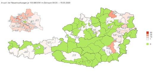 Die Corona-Hotspots in Österreich der letztens 7 Tage liegen in Horn (Niederösterreich) und Weiz (Steiermark)