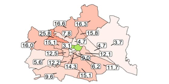 Die meisten Corona-Neuerkrankungen gab es in den letzten 7 Tagen in Wien-Hernals (25,8 Fälle je 100.000 Einwohner), die wenigsten in Wien-Neubau (3,1 Fälle).