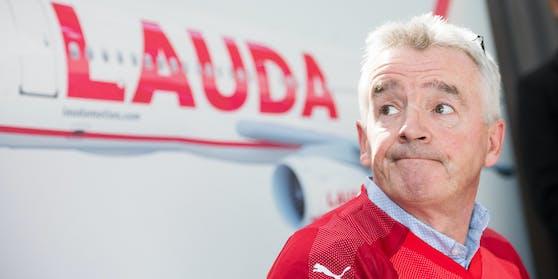 Ryanair-Chef Michael O'Leary bei einer Laudamotion-Präsentation