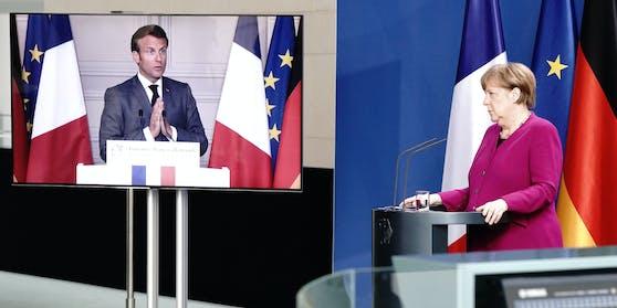 Frankreichs Präsident Emmanuel Macron stellte gemeinsam mit der deutschen Kanzlerin Angela Merkel ein Corona-Hilfspaket für Europa vor.