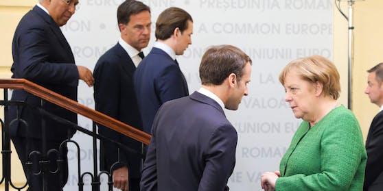 Bundeskanzler Sebastian Kurz (3.v.l.) bei einem EU-Gipfel. Im Vordergrund Emmanuel Macron und Angela Merkel.
