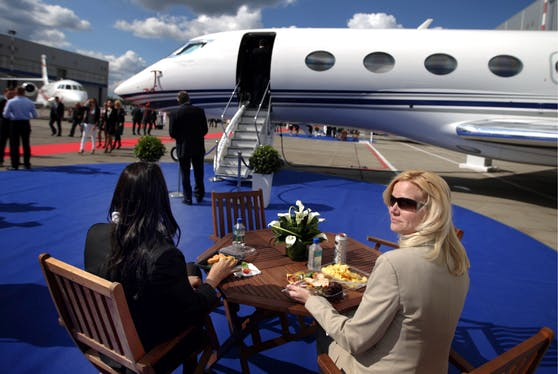 Eine solche Gulfstream G650 landete in Salzburg, um einen Koffer abzuholen.