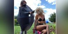 Heidi Klum (46) sitzt nur in Unterwäsche beim Friseur