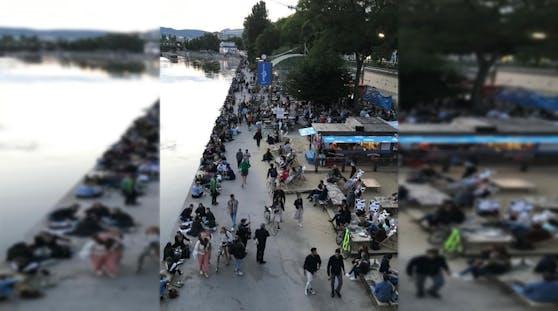 Party-Stimmung am Donaukanal in Wien
