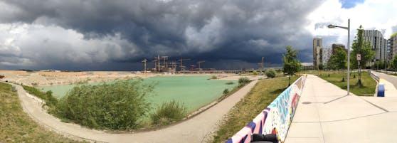 Unwetter in der Seestadt Aspern